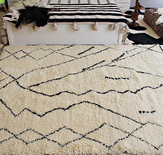 Authentic Moroccan Hand Knotted Rug with Black Patterns, Hand Woven Organic Wool Carpet by Berber Women Artisans from Morocco -Black & White-