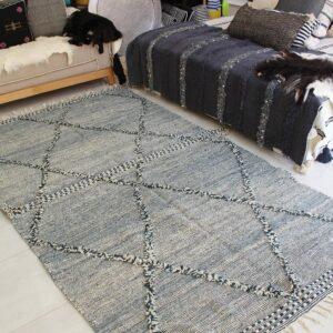 Authentic Moroccan Zanafi Wool Rug, made with Organic Wool -Dark Grey & Cream-
