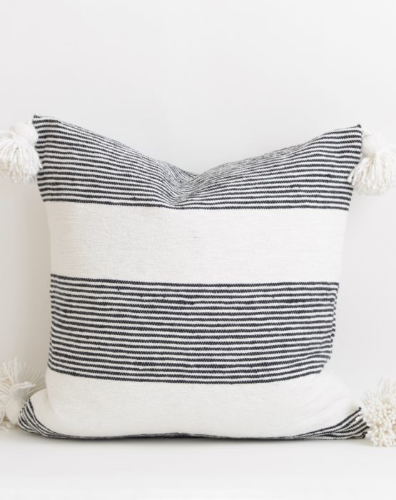 Moroccan Pom Pom Throw Pillow Cover with Tassels -Black & White Stripes-