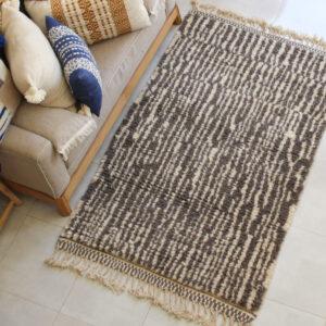 Genuine Woven Moroccan Berber Wool Carpet with Geometric Patterns, Cream & Brown