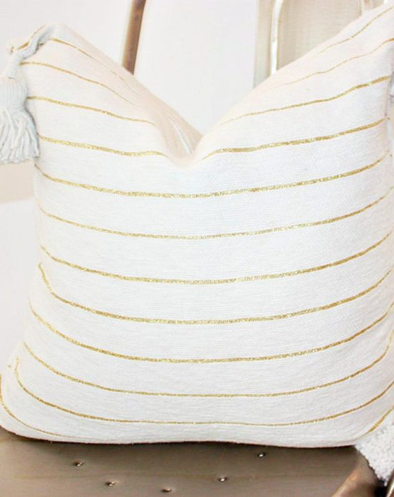 Throw Pillow Case with Tassels -White Cotton with Gold Stripes-