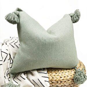 Moroccan PillowCase with Tassels -Khaki Cotton-