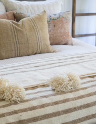 Handmade Moroccan Wool Throw Blanket, Beige Stripes, Wool Pom Pom Berber Bed Spread & Quilt
