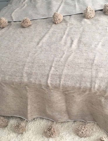 Handwoven Moroccan Wool Throw Blanket, Beige Wool Tassel Pom Pom Bed Cover