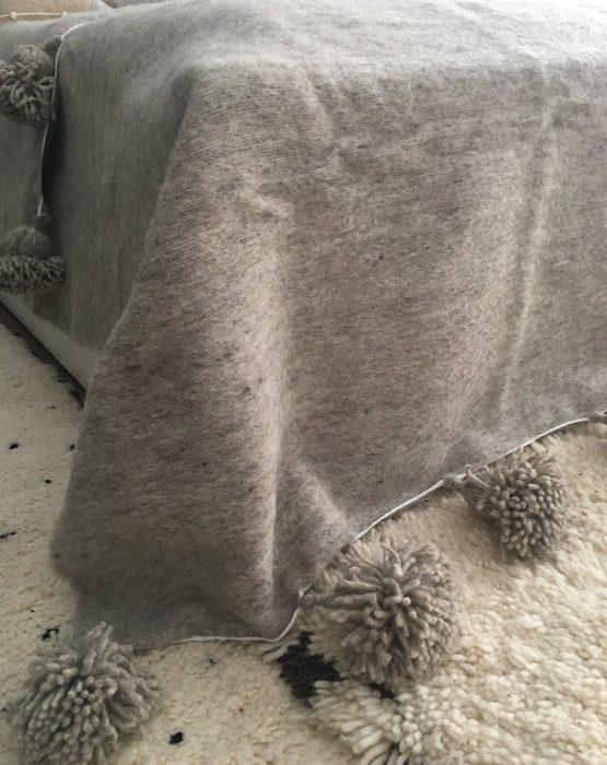 Handwoven Moroccan Tassel Wool Throw, Grey Wool Tassel Pom Pom Bed Cover