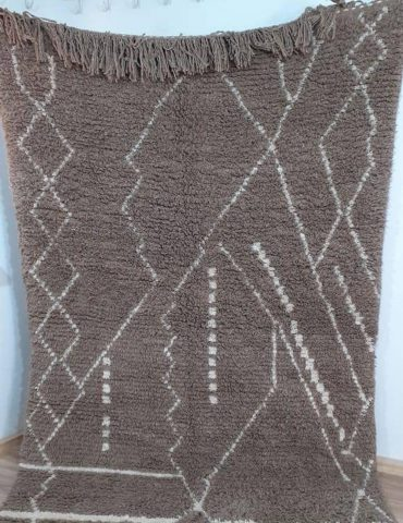 Moroccan Beni Ourain Area Rug with Berber Patterns, Handwoven Wool Carpet by Berber Women Artisans from Morocco -Brown with Cream Patterns-