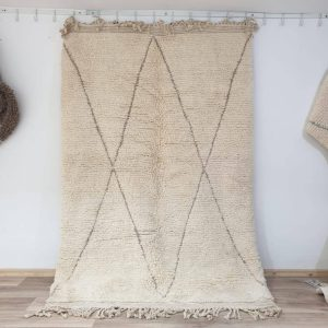 Off White Beni Ourain Moroccan Area Rug, Soft Camel Diamond Wool Carpet, Handwoven by Berber Women Artisans from Morocco