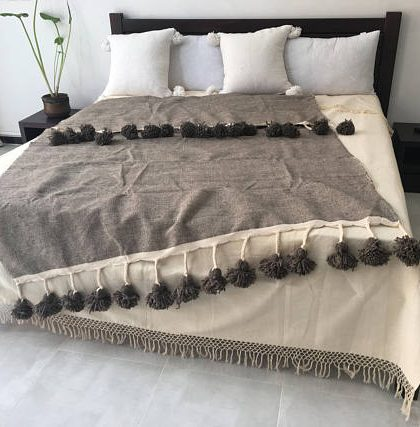 Moroccan Braided Tassels Blanket with Pompoms, Brown, with cream patterns