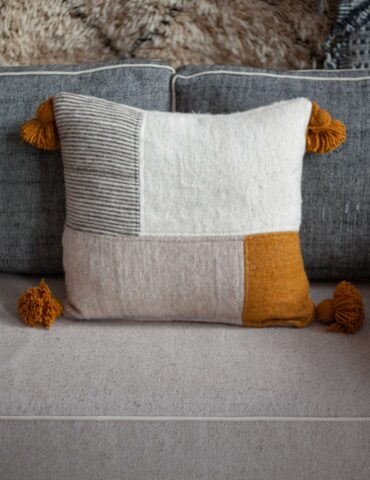 Wool Throw Pillow Case, Unique Patchwork Pillow Cushion.